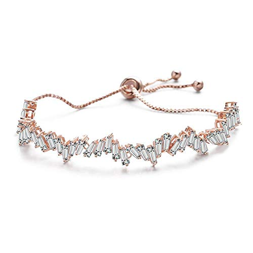 ChuangYing Square Diamond Hand-Embellished Korean Version Sparkling Zircon Pull Bracelet (Diamonds Sparkling Bracelet)