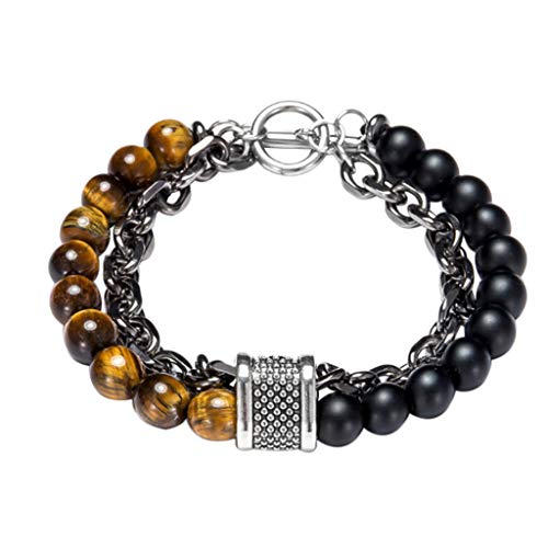 FEDULK Men Fashion Clash Double Layer Bracelet Beaded Cuff Individuality Punk Charm Bangle Bracelet(C)