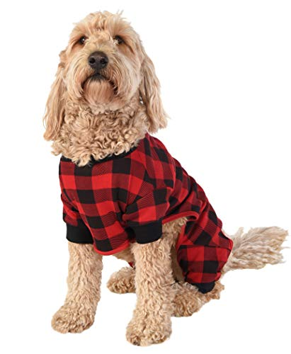 Plaid Bear Cheeks Flapjacks Dog Flapjack Onsie Sweater by LazyOne | Adult Kid Infant Dog Family Matching Pajamas (Medium)
