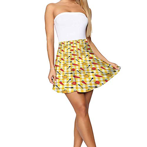 (Leisure Food Plaid Pattern Cooking Pepper Short Skirts for Women)