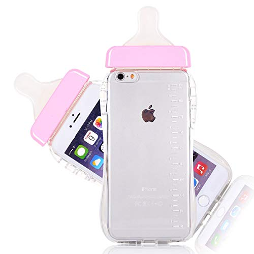 - Generic Baby Bottle Cute 3D TPU Soft Pregnant Woman Milk Bottle Clear Case Lanyard Case Cover for iPhone 6 plus (Pink)