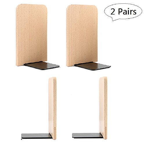 Bookends Pair Nonskid Heavy Metal Durable Sturdy Strong Books Organizer Telephone Booth Bookshelf Decor Decorative Bedroom Library Office School Supplies Stationery Gift (Wood-2Pairs)