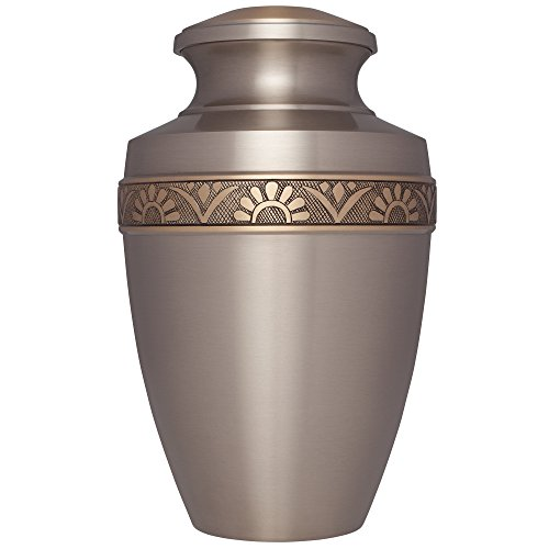 Silver Funeral Cremation Urn for Human Ashes – Hand Made in Brass – Suitable for Cemetery Burial or Niche – Large Size fits remains of Adults up to 200 lbs – D Anvers Silver with Bronze Model
