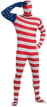 Rubie's Costume Adult Stars And Stripes 2nd Skin Zentai Bodysuit, Red/White/Blue, Medium Costume