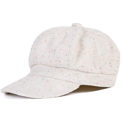 帽子 女の子用 カジュアルウォームハット女性オクタゴン帽子 女性用 ブラックヴィンテージスタイル,白