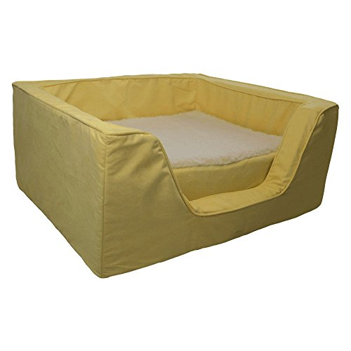 Snoozer Pet Products - Luxury Square Dog Bed with Memory Foam | Large - Lemon