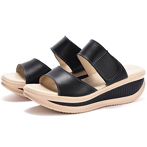 700514e5eede SHAKE Women s Platform Heeled Wedges Sandals Shape Ups Leather Comfort Peep  Toe Walking Shoes For Women