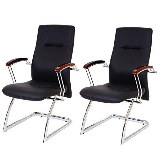 2x Besucherstuhl Cesena, Konferenzstuhl, 95x57x70cm Kunstleder schwarz