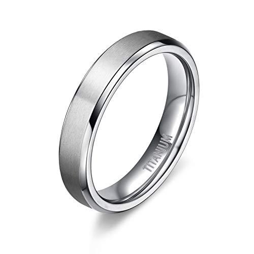 TIGRADE Unisex 4MM Titanium Brushed Finish Beveled Edge Classy Rings Wedding Band Size 4-15(9)