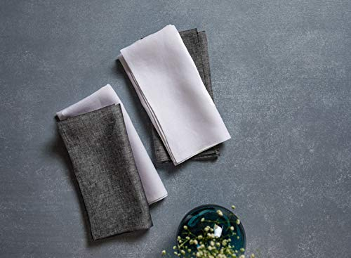 Solino Home Linen Dinner Napkins - 20 x 20 Inch White, 4 Pack Linen Napkins, Athena - 100% European Flax, Soft & Handcrafted with Mitered Corners by Solino Home (Image #2)