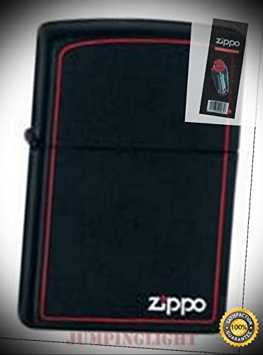 218zb Black Matte Logo Border Lighter with Flint Pack - Premium Lighter Fluid (Comes Unfilled) - Made in USA!