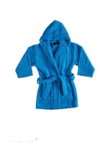 Bagno Milano Girls Hooded Bathrobe – 100% Organic Turkish Cotton - Blue 4 (Childrens Organic Cotton Clothing)