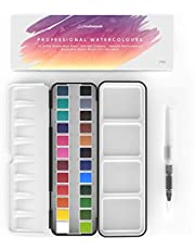 Watercolour Paint Set - 24 Vibrant Pans + 1 Blending Brush Pen - Professional, Premium Art Supplies Featuring Mixing Palette - Perfect for Painting, Calligraphy, Journaling & Lettering - Creativepeak