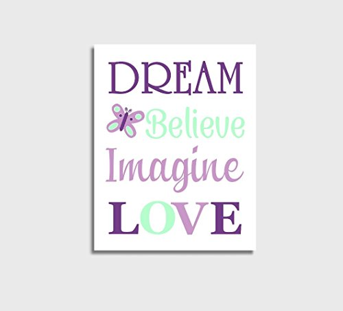Baby Girl Nursery Wall Art Mint Purple Dream Believe Imagine