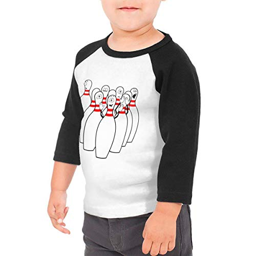 Manlee Bowling Unisex 100% Cotton Children's 3/4 Sleeves T-Shirt Top Tees 2T~5/6T 4T Black
