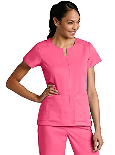 (Grey's Anatomy Women's 41445 3 Pocket Notched Neck Top- Coral Crush- X-Small)