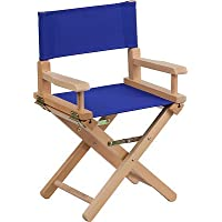 Kid Size Directors Foldable Chair in Blue Canvas Fabric with Beech Wood Finish