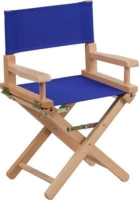 Kid Size Directors Foldable Chair in Blue Canvas Fabric with Beech Wood (Beechwood Folding Chair)