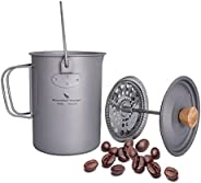 Boundless Voyage Titanium Coffee Cup with Lid 750ml / 900ml French Press Pot 25 / 30 fl oz Camping Mug with Fi