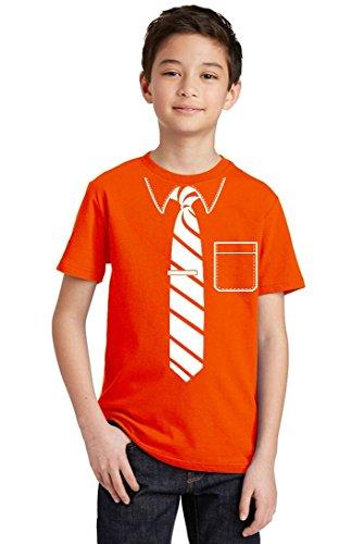 Tie Stripes Tuxedo Ceremony Office Youth T-Shirt, Youth XL, Orange