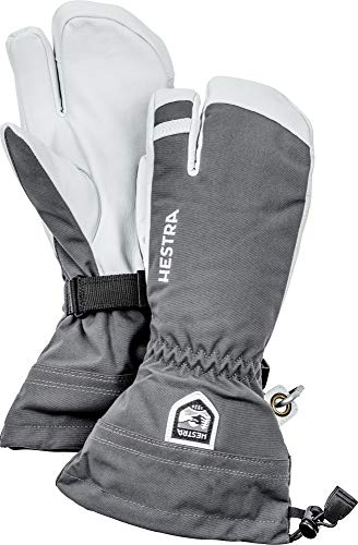 Hestra Army Leather Heli Ski Glove - Classic 3-Finger Snow Glove for Skiing and Mountaineering - Grey - 9 from Hestra