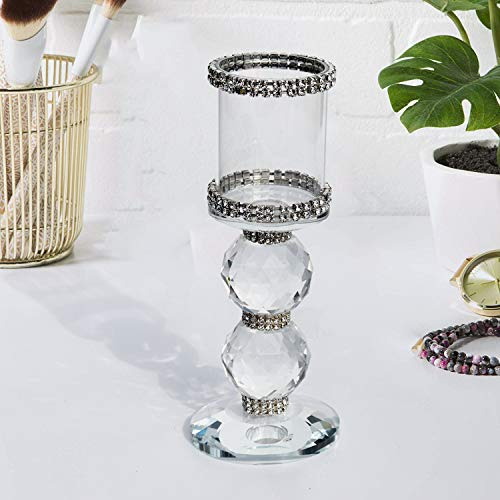 (METCRY Pure Crystal Candle Holder/Cylindrical Candle Holder for Wedding Decoration, Table Decoration, Thanksgiving Christmas )