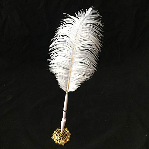 - MSOO White Feather Party Wedding Sign Pen Guest Book Pen Holder Creative Gifts Decor (Gold)