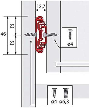 HETTICH Coulisse /à billes ka 5632 Profondeur int/érieur de caisson mini : 254 mm Longueur : 250 mm