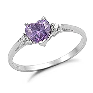 Sterling Silver Heart Shaped Simulated Amethyst Engagement