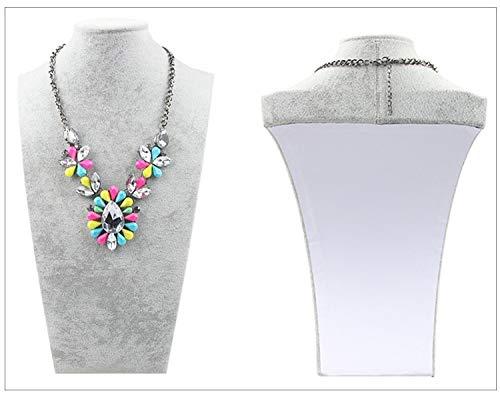 (1PCS Velvet Suede Linen Jewellry Mannequin Bust for Necklace Pendant-Portrait Necklace Display Stand Holder-Mannequin Jewelry Display Bust Stand for Jewelry Necklace Pendant (Height-7.87 Inch, Gray))