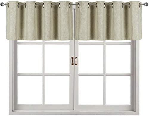 Home Queen Faux Linen Curtain Valance for Living Room, Short Straight Kitchen Grommet Drape Valances, Set of 2, 52 X 18 Inch Beige