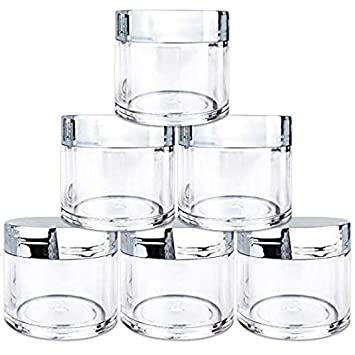 85a62bc79133 Beauticom 6 Pieces 1 oz. USA Acrylic Round Clear Jars with Flat Top Lids  for Creams, Lotion, Make Up,...