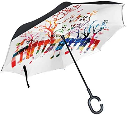 Flying Notes With Abstract Piano Keyboard Double Layer Windproof UV Protection Reverse Umbrella With C-Shaped Handle Upside-Down Inverted Umbrella For Car Rain Outdoor