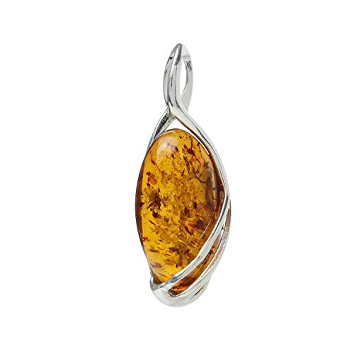 HolidayGiftShops Sterling Silver and Baltic Honey Amber Pendant Oriana