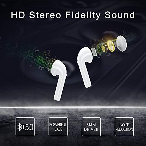 SEENGO True Wireless Earbuds – Bluetooth 5.0 Headphones with 3D Stereo Hi-Fi Sound Built-in Mic Charging Case in-Ear Bluetooth Earphones for Running Sport White