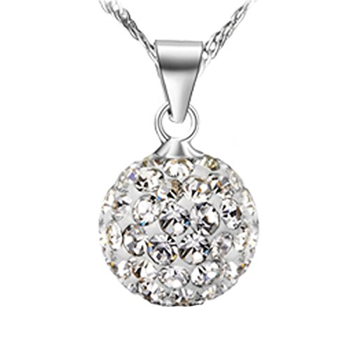 Chaomingzhen Sterling Silver Small Crystal Ball Bead Pendants Necklaces for Women (Ball Diameter 0.31inch)