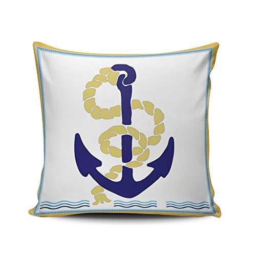 (Fanaing White Blue and Yellow Vintage Anchor and Rope 18X18 Inch Square Throw Pillow Case Decor Cushion Covers One-Side Printed)