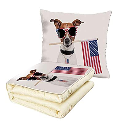 iPrint Quilt Dual-Use Pillow Dog Lover Decor American Dog with USA Flag and Shades Sunglasses Anniversary Independence Liberty Decorative Multifunctional Air-Conditioning Quilt