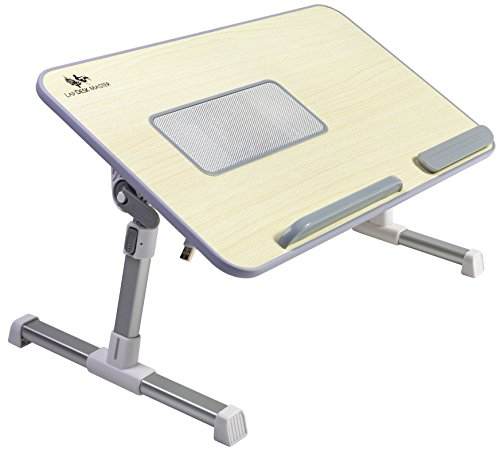 Adjustable Laptop Bed Tray Table with Cooling Fan by Lap Desk Master, Portable Laptop Couch Desk with Foldable Legs - Foldable Cooling Laptop Table