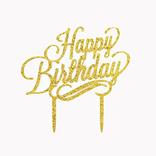 Firefairy(TM) Happy Birthday Gold Acrylic Cake Topper Birthday Party Decoration (Hawaiian Happy Birthday)