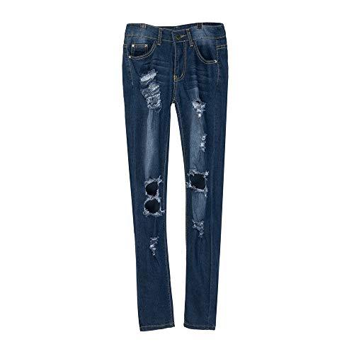 De Femmes Pantalon GreatestPAK Jeans La fonc Travail Stretch Maigre Trou Hiver Longueur Pantalon Taille Denim Automne Bleu Veau Slim wx7WIv