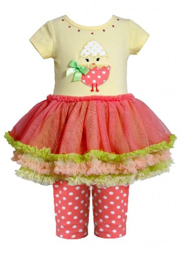 Ballet Chick - Bonnie Baby Baby Girls' Chick Applique Tutu with Capri, Yellow, 12 Months