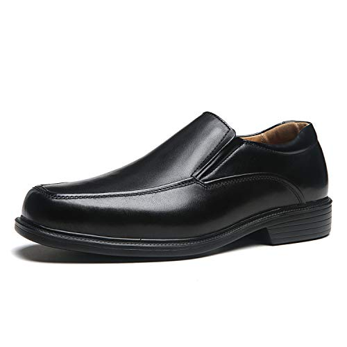 La Milano Wide Width Men's Leather Dress Shoes Slip On Square Toe Loafer Shoes Mens Comfortable Business Extra Wide Shoes - Dress Leather Shoes Loafers