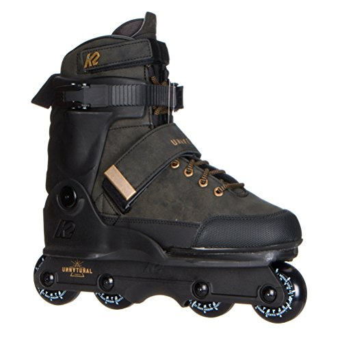 Leather In Line Skates - K2 Skate Unnatural Inline Skates, Size 9, Black/Black/Gold