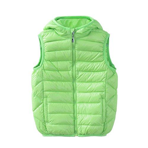 (M2C Boys Girls Front Zip Packable Hooded Down Puffer Vest 4T Grass Green)