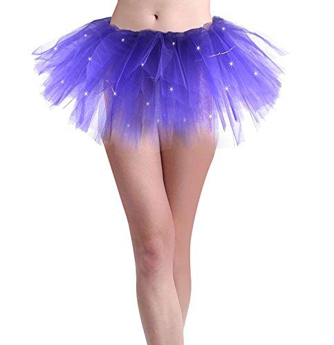 Women Led Light Up Neon Rainbow Ballet Dance Tutu Skirt, Purple, One Size