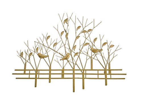 (DecorShore Magnolia Tree Perspective 3D Metal Wall Sculpture, Contemporary Artisan Hand-Crafted Wire Wall Decor, Brushed Gold Metal)