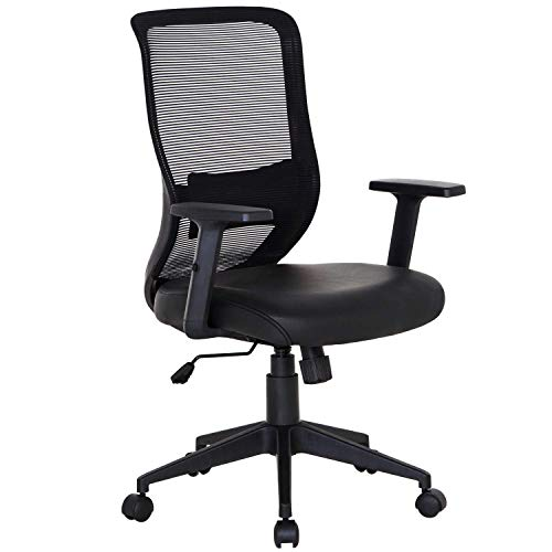 VECELO Pu Cushion Home Office Chair for for Task/Desk Work – Black, (Renewed)