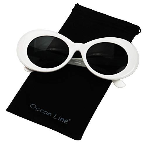 Bold Retro Oval Mod Thick Frame Sunglasses Round Lens Kurt Cobain Clout Goggles (white)