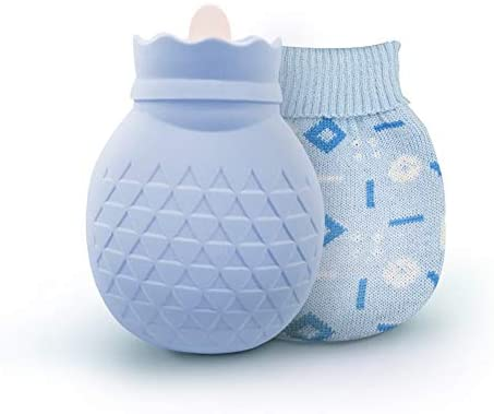 ipow Bolsa de agua caliente microondas de mano, Bolsa de agua caliente silicona con funda protectora de lana suave para Aliviar Dolores Muculares, ...